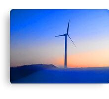 Alternative energy wind mills in the snow Canvas Print
