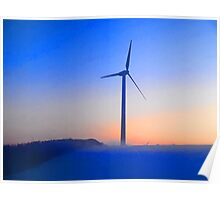 Alternative energy wind mills in the snow Poster