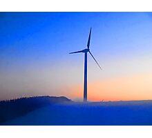 Alternative energy wind mills in the snow Photographic Print