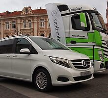 Mercedes Benz V-Class and Actros FuelDuel  on Old Town Square. by miniailov