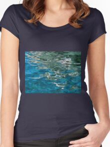 Blue water ripples background Women's Fitted Scoop T-Shirt