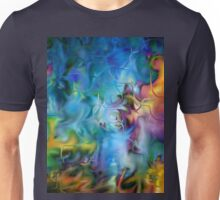 abstract art, blue, purple, yellow, white, red Unisex T-Shirt