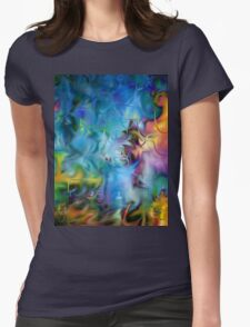 abstract art, blue, purple, yellow, white, red Womens Fitted T-Shirt