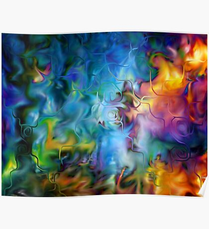 abstract art, blue, purple, yellow, white, red Poster