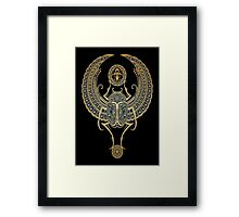 Golden Blue Winged Egyptian Scarab Beetle with Ankh  Framed Print