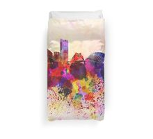 Valencia skyline in watercolor background Duvet Cover