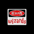 BEWARE: WIZARDS, FUNNY DANGER STYLE FAKE SAFETY SIGN by DangerSigns