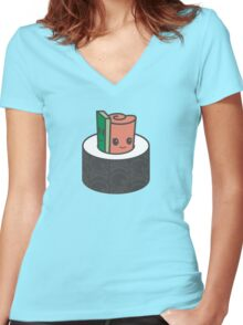 Sushi Snuggle Women's Fitted V-Neck T-Shirt