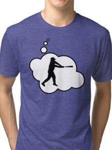 Baseball Player Swing by Bubble-Tees.com Tri-blend T-Shirt