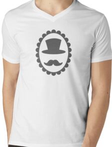 Top hat mustache man on a cameo CLASSY Mens V-Neck T-Shirt