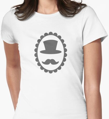 Top hat mustache man on a cameo CLASSY Womens Fitted T-Shirt