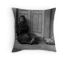 Child, Dog and Chook Throw Pillow