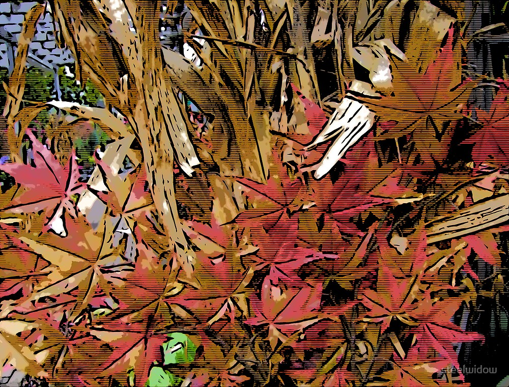 Comic Abstract Fall Leaves by steelwidow