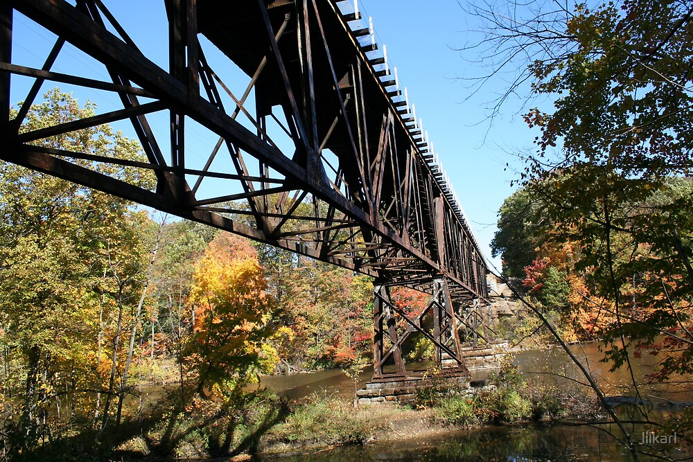 Train Bridge in Fall by lilkarl