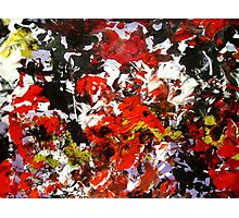 Wild Flower gritty abstract punk red black yellow white floral Photographic Print