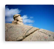 The poet Pablo Neruda head sculpture on the beach of Isla Negra, Chile Canvas Print