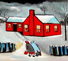 Little red house (from my original acrylic painting) by sword