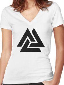 Walknut / Valknut - Wotan's Knot / Odins Knot Women's Fitted V-Neck T-Shirt
