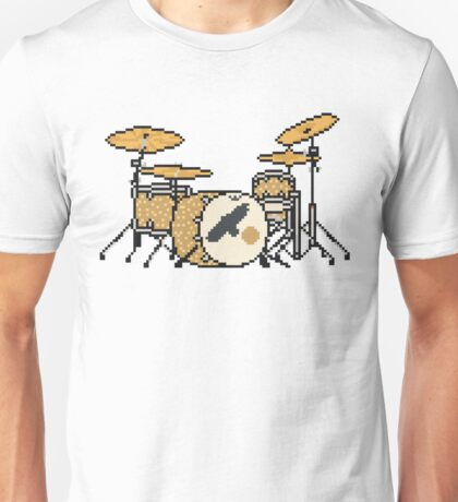 Pixel Gold Sparkle Bird Drum Set Unisex T-Shirt
