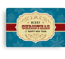 Vintage Label Christmas Card - Merry Christmas Canvas Print
