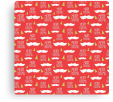 Merry Christmas Mustache Pattern Canvas Print