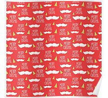 Merry Christmas Mustache Pattern Poster