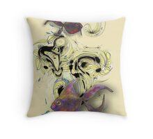 Ink Dot Flowers and Phantasy Fish Throw Pillow