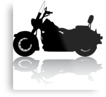 Cruiser Motorcycle Silhouette with Shadow Metal Print