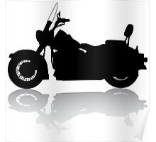 Cruiser Motorcycle Silhouette with Shadow Poster