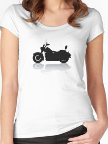 Cruiser Motorcycle Silhouette with Shadow Women's Fitted Scoop T-Shirt