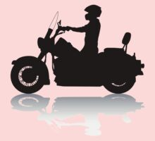 Cruiser Motorcycle Silhouette with Rider & Shadow One Piece - Long Sleeve
