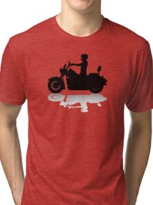 Cruiser Motorcycle Silhouette with Rider & Shadow Tri-blend T-Shirt