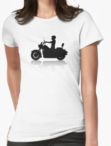 Cruiser Motorcycle Silhouette with Rider & Shadow Womens Fitted T-Shirt