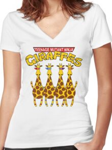 Teenage Mutant Ninja Giraffes Women's Fitted V-Neck T-Shirt