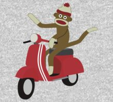 Sock Monkey Vespa Scooter Kids Tee