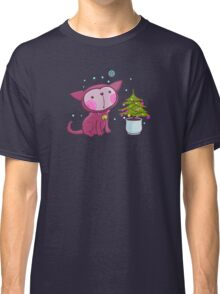 Christmas Kitties Pattern and another Spasial CAT with the Christmas tree. Classic T-Shirt