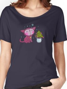Christmas Kitties Pattern and another Spasial CAT with the Christmas tree. Women's Relaxed Fit T-Shirt