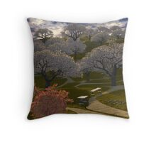 Cherry tree hill Throw Pillow