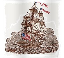 Vintage Page with American Vessel on Seas Poster