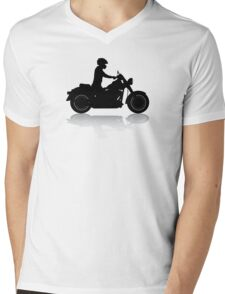 Cruiser Motorcycle Silhouette with Rider & Shadow Mens V-Neck T-Shirt