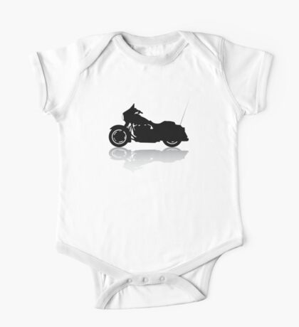 Cruiser Motorcycle Silhouette with Shadow One Piece - Short Sleeve