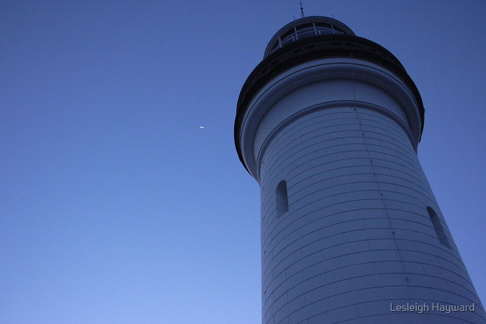 Moonlight over the Byron bay Lighthouse by Lesleigh Hayward