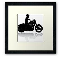 Cruiser Motorcycle Silhouette with Rider & Shadow Framed Print