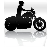 Cruiser Motorcycle Silhouette with Rider & Shadow Poster