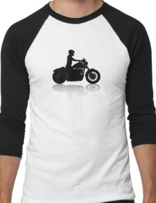Cruiser Motorcycle Silhouette with Rider & Shadow Men's Baseball ¾ T-Shirt