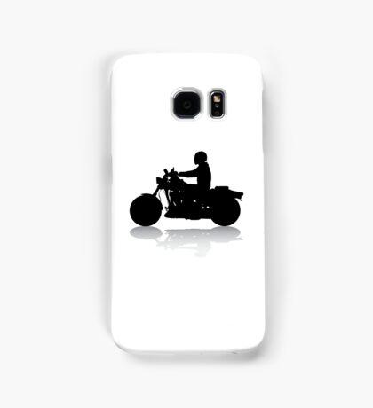 Cruiser Motorcycle Silhouette with Rider & Shadow Samsung Galaxy Case/Skin