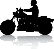 Cruiser Motorcycle Silhouette with Rider & Shadow by SandpiperDesign