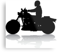 Cruiser Motorcycle Silhouette with Rider & Shadow Metal Print