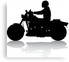 Cruiser Motorcycle Silhouette with Rider & Shadow Canvas Print