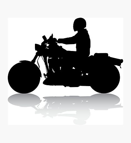 Cruiser Motorcycle Silhouette with Rider & Shadow Photographic Print